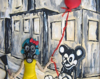 Mixed media art  print 8X10, girl with a gask mask balloon surreal unusual home decor