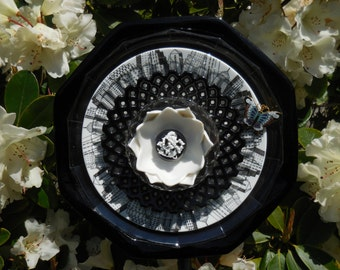 Garden Art Glass Plate Flower Re Purposed and Vintage Outdoor Decor