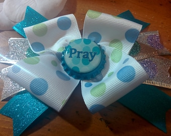 Momma Eva's -- Beautiful Sparkling 'Pray' Layered Boutique Hair Bow Design W/ Glitter  //  4.5 inch //  Bow Is Ready To SHIP