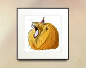 Party Animal Lion Illustration // art  Drawing // Digital Illustration //  // picture wall art // 8x8 10x10 print