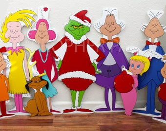 Grinch who stole Christmas - Whoville - Whoville carolers - Complete set - Grinch Party - Grinch Prop - Grinch Decor