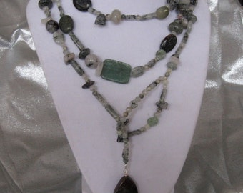 Tourmalinated quartz lariat necklace