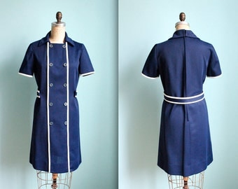 vintage 60s mod navy blue and cream double breasted dress / I. Magnin / size small to medium