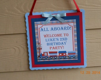 Train Door Sign-Train Wall Hanging-Train Birthday Decoration-Train Decoration-Boy's Birthday Door Sign-Boy's Party Decoration