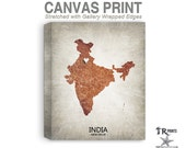India Map Stretched Canvas Print - Home Is Where The Heart Is Love Map - Original Personalized Map Print on Canvas