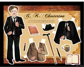 Author G K Chesterton dress up DIY paper doll digital download print and cut