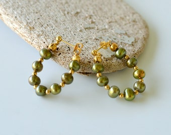 Olive Green Pearl Hoop Earrings, Gold Plated Beads with Freshwater Pearls, Clip On Available, Gift Boxed