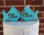 Kissing fish distressed wood cake toppers. Mr & Mrs. Turquoise or choose your colors. beach wedding.