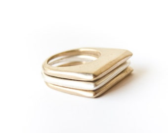 Modern and Minimal High Rise Stacking Ring | Plateau Ring
