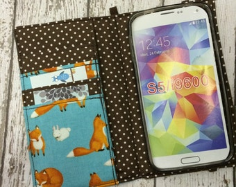 Samsung Galaxy S3, S4, S5, S6 wallet with removable gel case - fox print