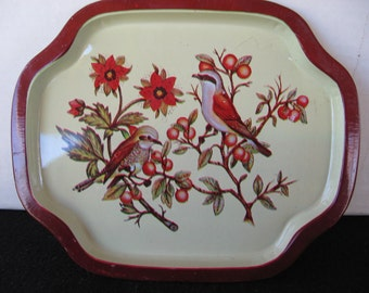 Tip Tray with birds and flowers, maroon and creme