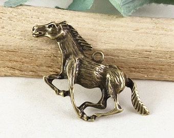 10pcs Horse Charms Antique Bronze Running Horse Charm Pendants 21x49mm TB24000