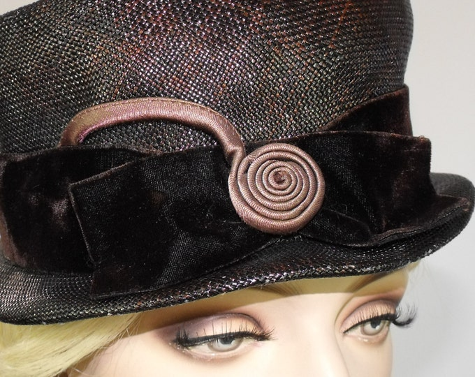 1960's Brown Straw Pillbox Cocktail Hat // Vintage Pillbox Hat // Evening Hat