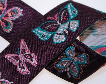 Butterflies on Aubergine Jacquard Trim 7/8 Inches wide - One, Three, Five, or Ten Yards