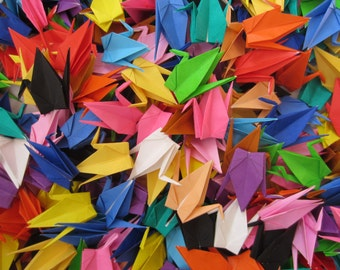 100 Multicolored Small Japanese Origami Crane Paper Crane Origami Paper Cranes folded crane folded bird