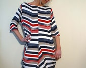 Red White and Blue Zigzag Stripe Jersey Dress with Center Front and Center Back Seam and Exaggerated Fulness with 3/4 Sleeves