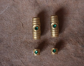 Gold/green Dwarf/Viking/Cosplay/LARP hair/beard/moustache beads set of 4