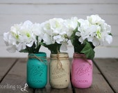 Rustic Vintage Painted Pint-Sized Mason Jar - Set of Three