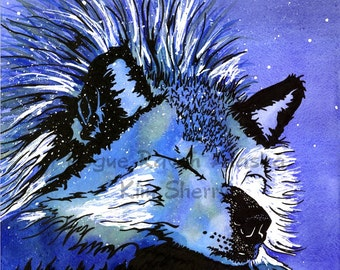 No Shelter from the Storm - a limited edition print of wolf sleeping during Alaska blizzard