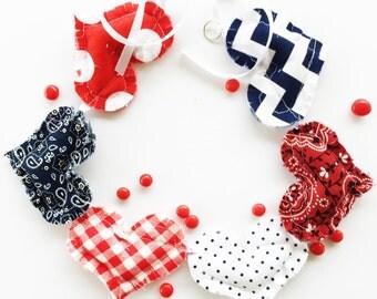 Garland, red white blue garland, bunting, cowboy garland, fabric garland, fabric bunting, heart garland cowboy bunting cowboy bunting