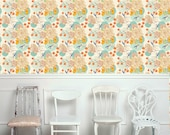 Removable Floral Wallpaper- Bloom- Peel & Stick Self Adhesive Fabric Temporary Wallpaper-Repositionable-Reusable- FAST. EASY.