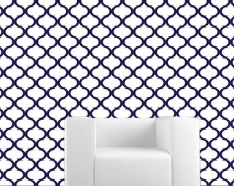 Removable Wallpaper- Moon Lattice- Peel & Stick Self Adhesive Fabric Temporary Wallpaper-Repositionable-Reusable- FAST. EASY.