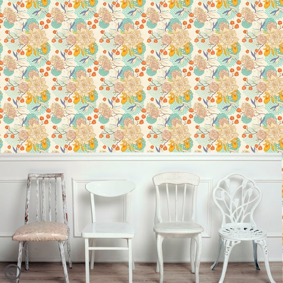 Removable floral wallpaper bloom peel stick self adhesive Floral peel and stick wallpaper