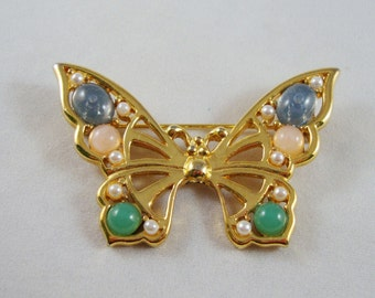 Vintage Gold-tone Rhinestone & Pearl Butterfly Brooch