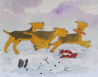 Print of winter Airedales