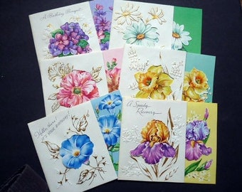1950s Vintage Greeting Cards//Fold out//Floral Design//Lot of 11