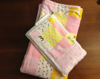 Baby girl Shower Gift/Baby Blanket and Burp Cloth/Minky Baby Blanket/Pink and Yellow Flannel Baby Blanket and Burp Cloth