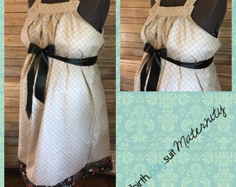 Maternity Hospital Gown- Gray with circles, black pink gray floral band