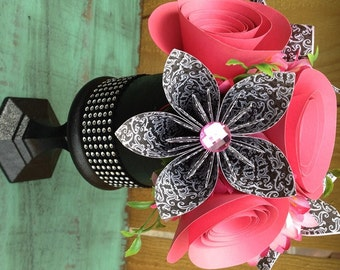 Black, White and Hot Pink in Hand Painted Black Vase Accented with Gems