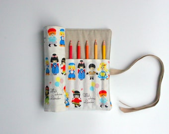 Pencil Roll Cute Dolls - WITHOUT Pencils - Crochet Hook Roll Brush Roll