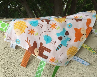 Baby Forest Animals Tag Blanket with orange Minky // In Stock, READY TO SHIP