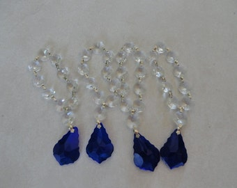 A716)  Vintage Blue Maple Leaf Shape Crystals with Clear Octagon Crystals