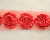 Shabby Chiffon Rose Trim, Shabby Flower, Red with White Dots, 1 yard
