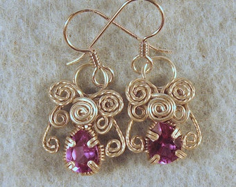 Color Change Alexandrite Angel in Argentium Sterling Silver Wire Wrapped  Cage Earrings Number 1 of 500