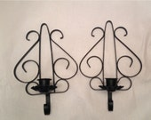 Black Wrought Iron Candle Sconces Set of Two