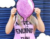 Pink Glitter Balloon Clutch Handbag