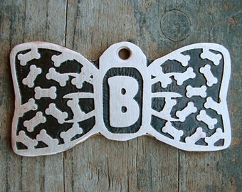 Bow Tie Dog Tag, Custom Bowtie Dog Tag, Etched Brass Pet ID, Pet Tag, Unique Dog Tag
