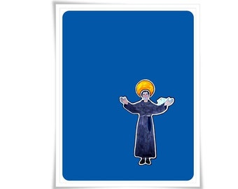 Saint Francis of Assisi Poster Art Painting Illustration Religious Catholic Meditation Decor