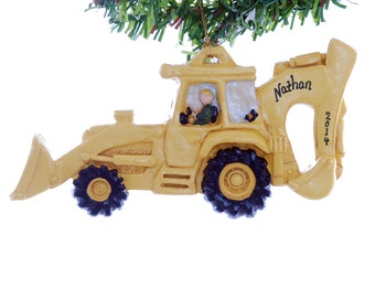 Back hoe Christmas ornament personalized with a name and year of your choice - construction equipment ornament