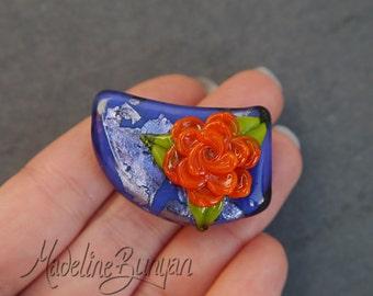 3D Rose, Orange on Purple, Lampwork Focal Bead