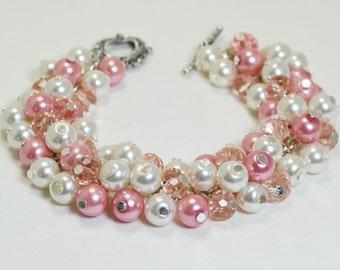 Rose, Ivory and Crystal Pearl Bracelet, Chunky Bracelet,  Bridal Jewelry, Wedding Bracelet, Pink Bridesmaid Bracelet, Cluster Pearl Bracelet