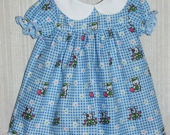 Spring Easter Bunny Blue Check Dress for Infant Size Small 6-9 Mos Hand Made