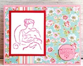 Mother's Day Card in Turquoise and Rose, Woman with Child, Baby