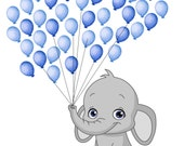 Elephant BABY SHOWER FINGERPRINT guest book balloon Stamp included Grey and Blue  Baby Gray Elephant Baby Shower Poster Gift num.106