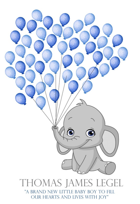 balloon stamp included grey and blue baby gray elephant baby shower
