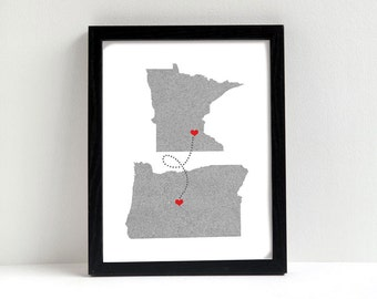 Love Connection - Two States Love Connection Map - Wedding - Personalized State & Heart - Natural Series - Location - Modern Art Print